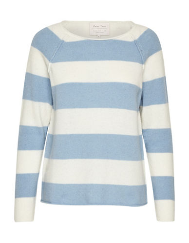Part Two Kasmira Striped Wool-Blend Sweater-LIGHT BLUE-Large