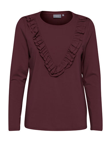B. Young Trish Ruffled Top-RED-X-Small