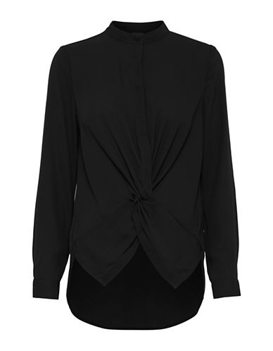 Ichi Crosso Knotted Shirt-BLACK-Small