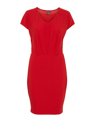 Ichi Komma V-Neck Sheath Dress-RED-Medium