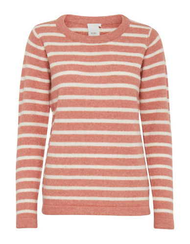 Ichi Melba Striped Sweater-PINK-Medium