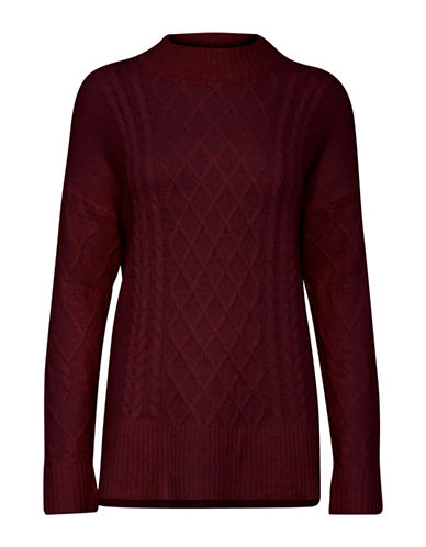 B. Young Opas Cable-Knit Pullover-RED-Large