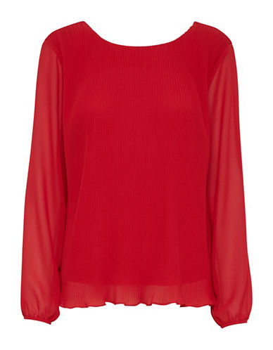 Ichi Amivo Pleated Blouse-RED-X-Small