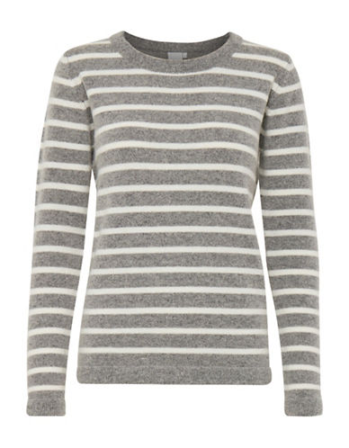 Ichi Melba Striped Sweater-GREY-Small