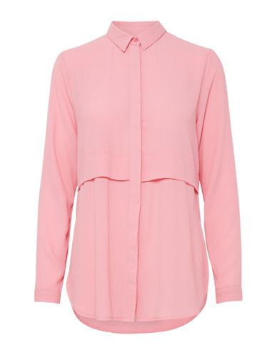 Ichi Long-Sleeve Crepe Blouse-PINK-38