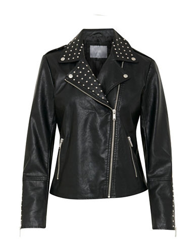 B. Young Chari Faux Leather Jacket-BLACK-36