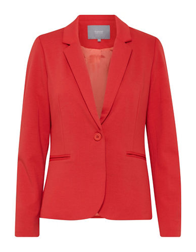 B. Young One-Button Blazer-RED-38