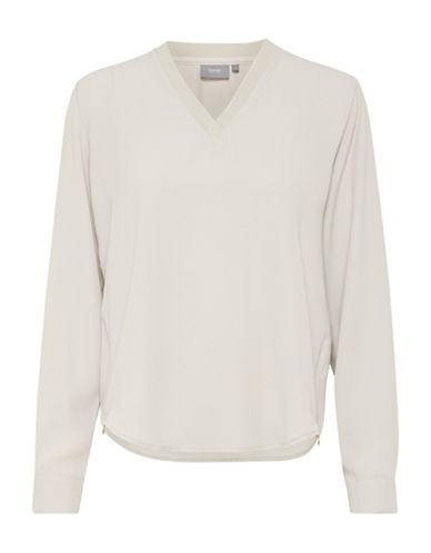 B. Young V-Neck Pullover Blouse-GREY-36