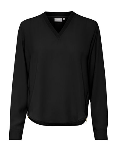 B. Young V-Neck Pullover Blouse-BLACK-38