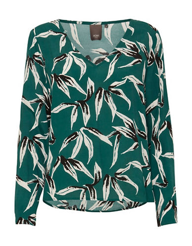 Ichi Printed Long-Sleeve Top-GREEN-36