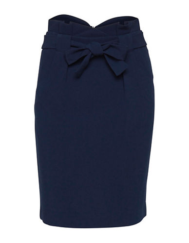 Ichi Fabiu Pencil Skirt-NAVY-38