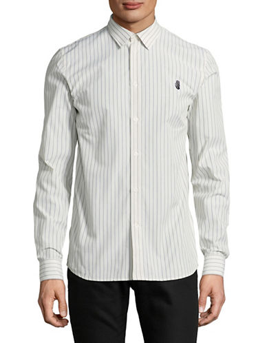 Wood Wood Cotton Pinstripe Shirt-WHITE-Large