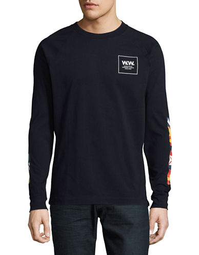 Wood Wood Print Crew Neck Shirt-NAVY-Medium