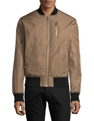 Wood Wood Contrast Trim Bomber Jacket-BEIGE-Large