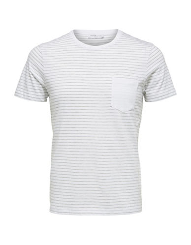 Selected Homme SHDIVAN Striped Pocket T-Shirt-WHITE-XX-Large