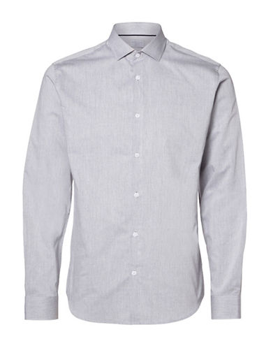 Selected Homme Toronto Plain Weave Button-Front Dress Shirt-GREY-Large
