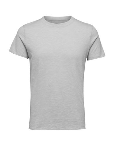 Selected Homme Crew Neck Cotton Tee-GREY-X-Large 89694388_GREY_X-Large