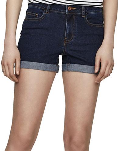 Noisy May Lucy Fold-Over Denim Shorts-DARK BLUE-X-Small