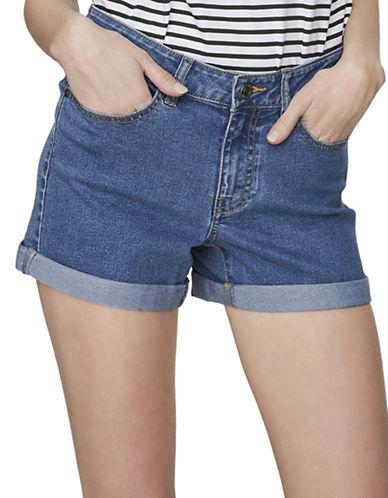 Noisy May Lucy Fold-Up Denim Shorts-MEDIUM BLUE-Large
