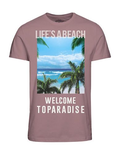 Jack & Jones Printed Cotton Blend Tee-PINK-Large 89122936_PINK_Large