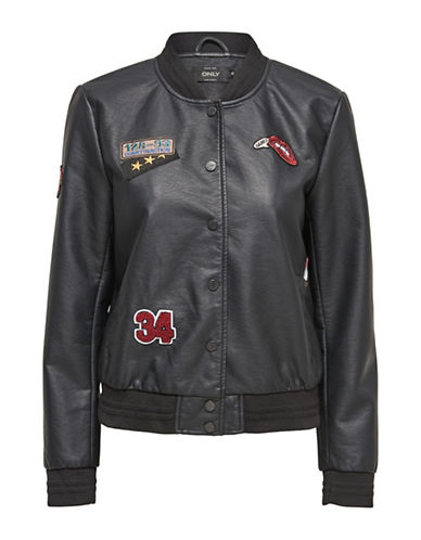 Only onlSANDY Badge Faux-Leather Bomber-BLACK-38