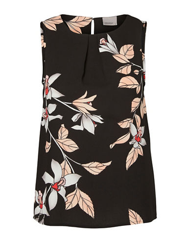 Vero Moda Rihanna Printed Sleeveless Top-BLACK-X-Small 88985150_BLACK_X-Small