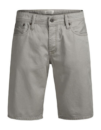 Jack & Jones Regular Fit Cotton Shorts with Pockets-GREY-X-Large