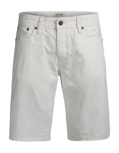 Jack & Jones Regular Fit Cotton Shorts with Pockets-WHITE-X-Large