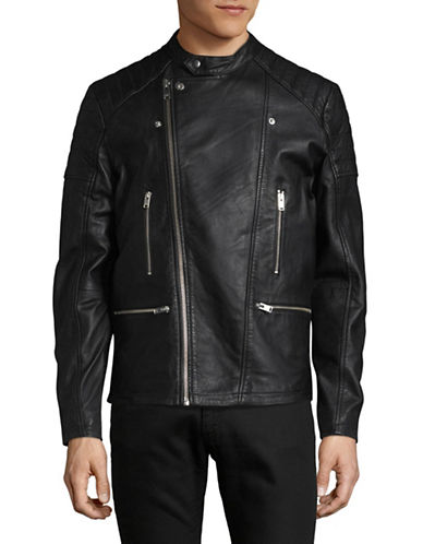 Selected Homme Leather Biker Jacket-BLACK-Small