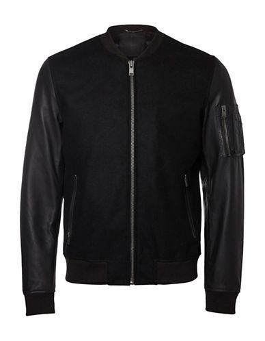 Selected Homme Leather Sleeve Wool-Blend Jacket-BLACK-Medium