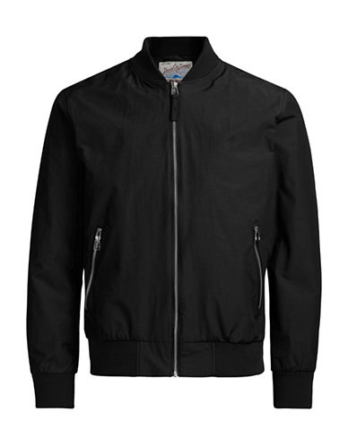 Jack & Jones Nylon-Blend Bomber Jacket-BLACK-Small