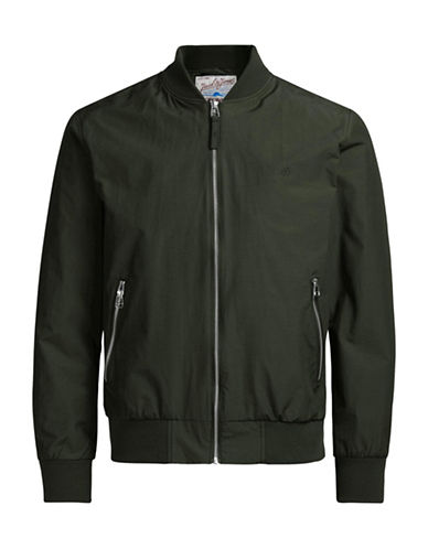 Jack & Jones Nylon-Blend Bomber Jacket-GREEN-X-Large