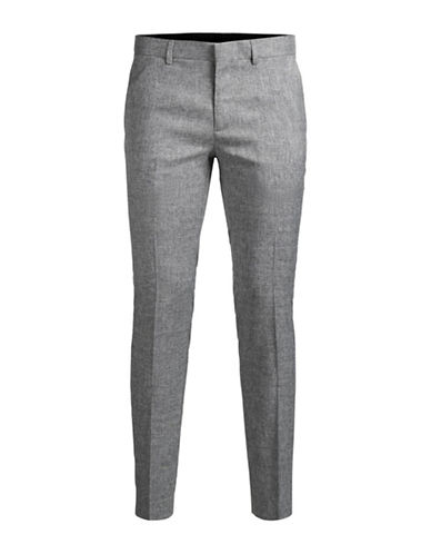 Jack And Jones Premium Textured Zip-Fly Trousers-GREY-40X36
