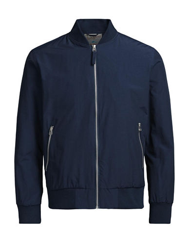 Jack & Jones Nylon-Blend Bomber Jacket-NAVY-Small