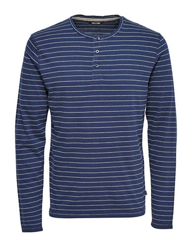 Only And Sons Long Sleeve Stripe Grandad Top-BLUE-Medium 89001865_BLUE_Medium