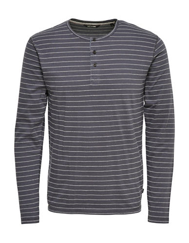 Only And Sons Long Sleeve Stripe Grandad Top-GREY-X-Large 89001871_GREY_X-Large