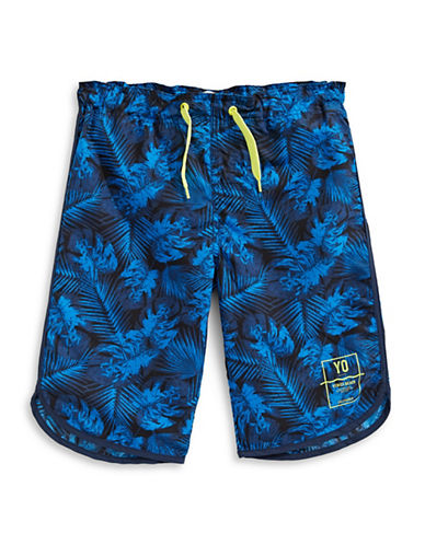 Name It Leaf-Print Swim Shorts-BLUE-11