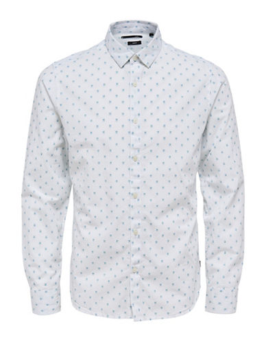 Only And Sons Jacquard Long Sleeve Shirt-WHITE-Large