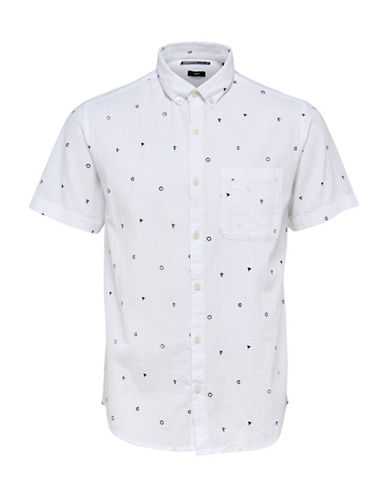 Only And Sons Allover Print Seersucker Shirt-WHITE-X-Large