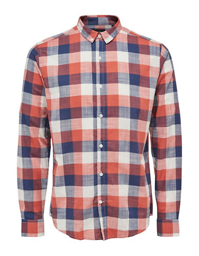 Only And Sons Long Sleeve Plaid Shirt-RED-Large
