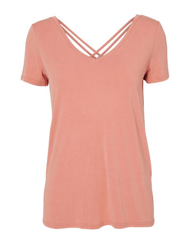 Vero Moda Caralyn Cage Back Tee-PINK-X-Small 88911584_PINK_X-Small