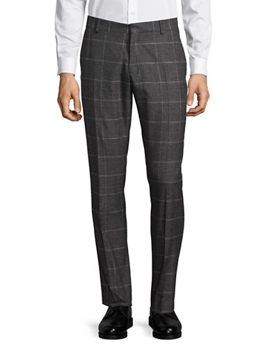 Selected Homme Windowpane Plaid Pants-GREY-36