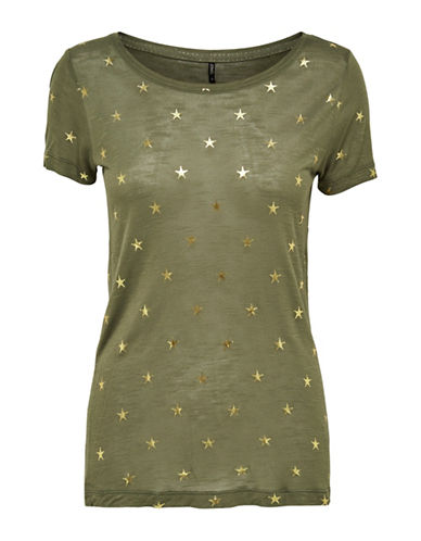 Only Short Sleeve Star Print Top-GREEN-Large 89124124_GREEN_Large
