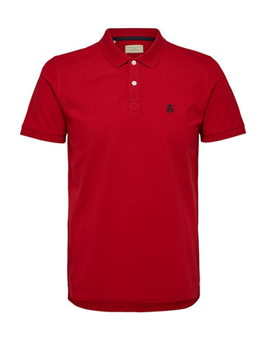 Selected Homme SHHARO Embroidered Polo-DEEP RED-Small
