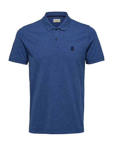 Selected Homme SHHARO Embroidered Polo-MEDIUM BLUE-Large
