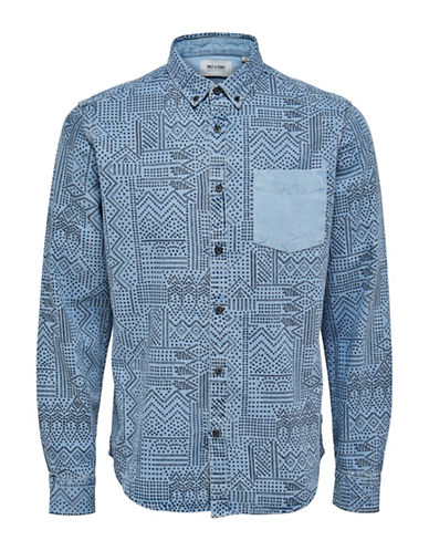 Only And Sons Printed Sport Shirt-LIGHT BLUE-Medium