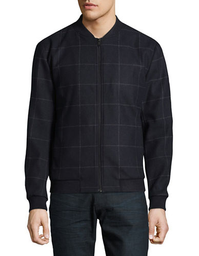 Selected Homme Grid Bomber Jacket-BLUE-Small