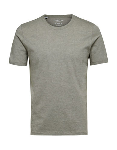 Selected Homme Perfect Melange Cotton Tee-GREEN-Large