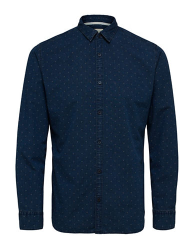 Selected Homme Dotted Cotton Shirt-BLUE-Small