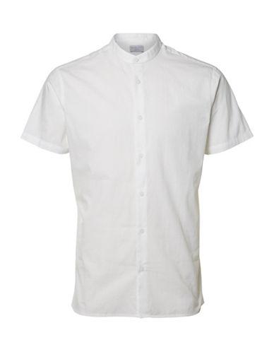 Selected Homme Mandarin Collar Sport Shirt-GREY-X-Large